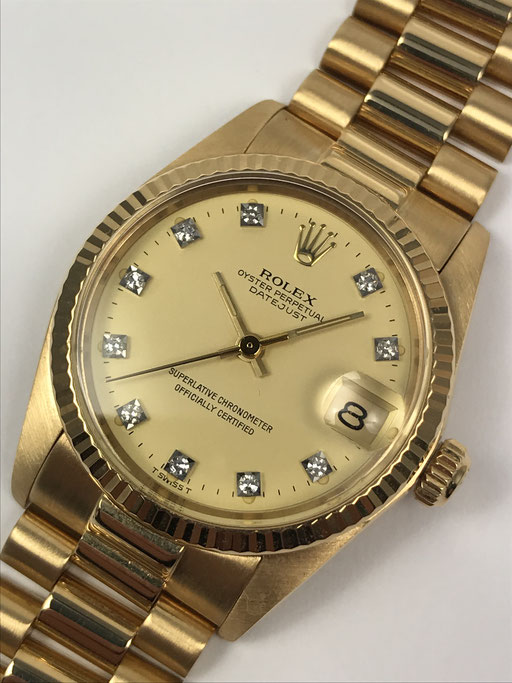 ROLEX DATEJUST MEDIUM SIZE DIAMANTBLATT REF:6827 VON 1983 IN 750 GOLD