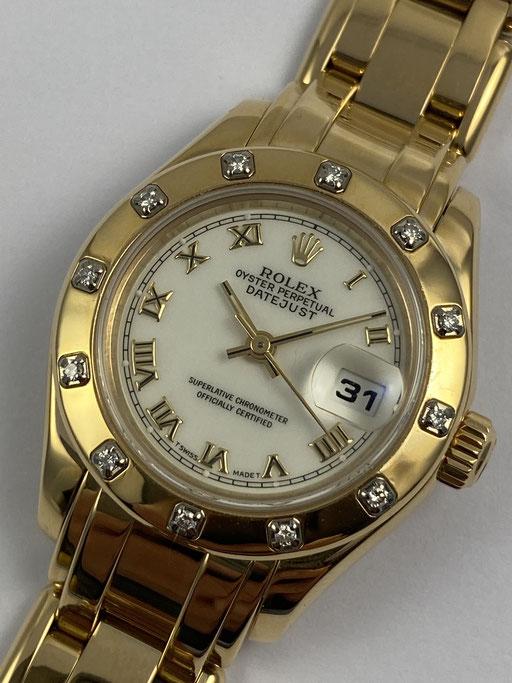 ROLEX DATEJUST PEARLMASTER 750 GOLD REF: 69318 VON 1995 MIT BOX & PAPIEREN