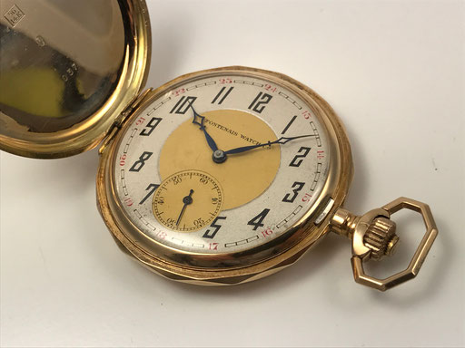 "ANTIKE ART DECO ""FONTENAIS WATCH CO"" TASCHENUHR SAVONETTE 585/000 GOLD"