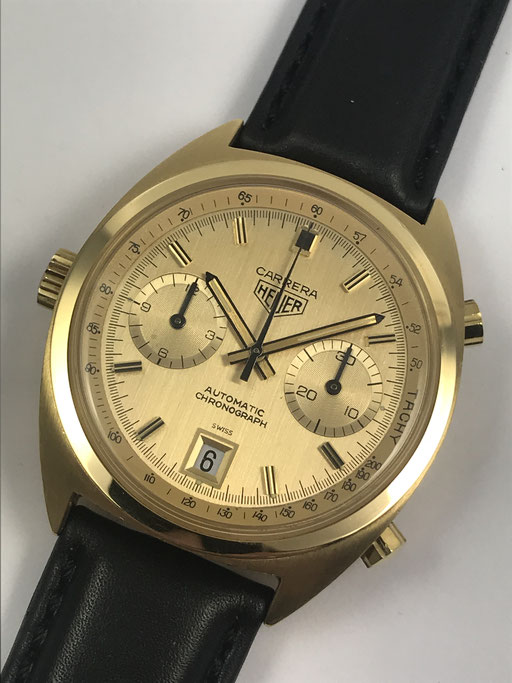 VINTAGE HEUER CARRERA REF.: 1158 CH / CALIBER 11 IN 750 GOLD MIT BOX
