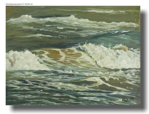 Nordseewellen, Öl auf Masonit, 40 x 30 cm