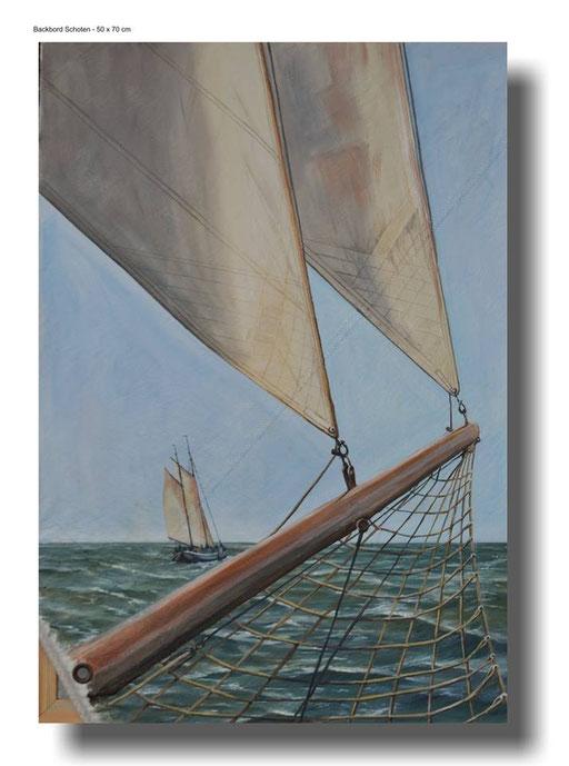 Backbord Schoten, Ölgemälde auf gebrauchtem Segel  70 x 100 cm °