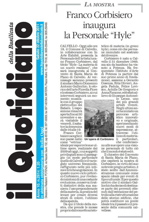 Il Quotidiano della Basilicata, 22 ottobre 2011