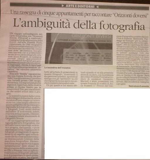 Il Quotidiano della Basilicata, 5 marzo 2013
