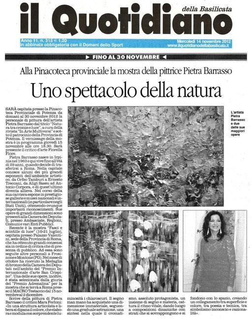 Il Quotidiano della Basilicata, 14 novembre 2012