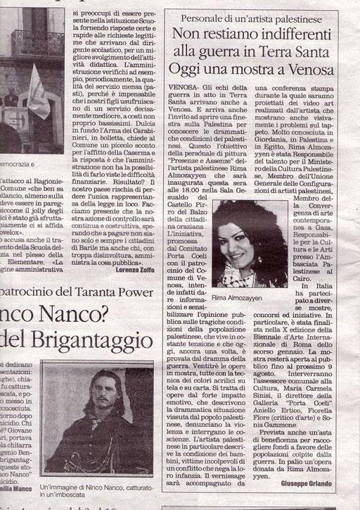 Il Quotidiano della Basilicata, 2 agosto 2014