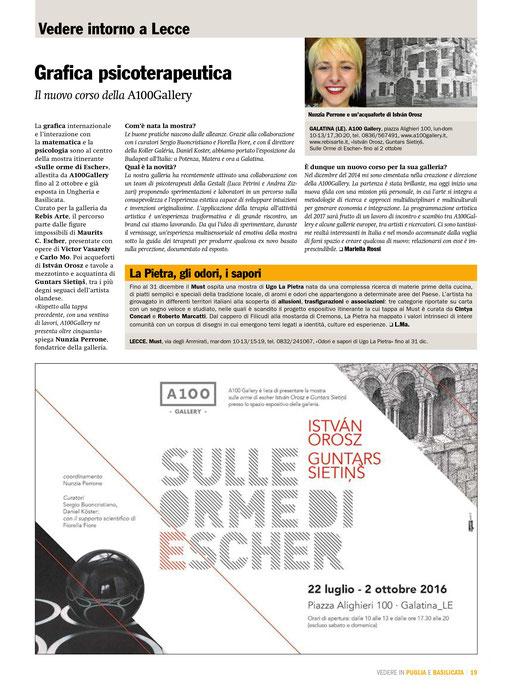 Il Giornale dell'Arte, Vedere in Puglia e Basilicata, Settembre - Novembre 2016