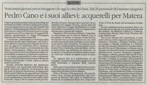Il Quotidiano della Basilicata, 8 settembre 2013