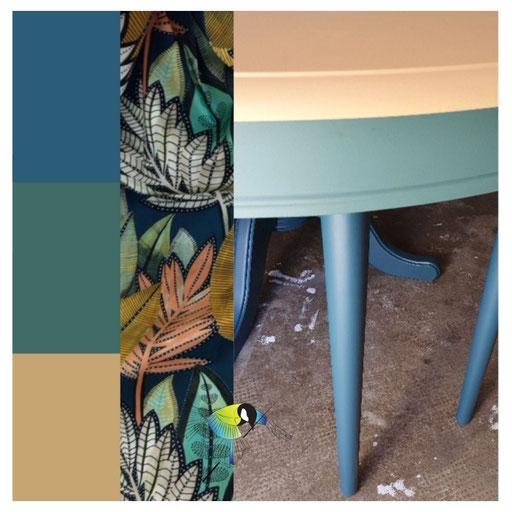 avec presque rien relooking de meuble ensemble table et chaises, jeu de couleurs, bleu pétrole, vert épinette, ocre,peinture