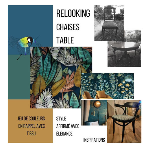 avec presque rien relooking de meuble ensemble table et chaises, jeu de couleurs, bleu pétrole, vert épinette, ocre, inspiration