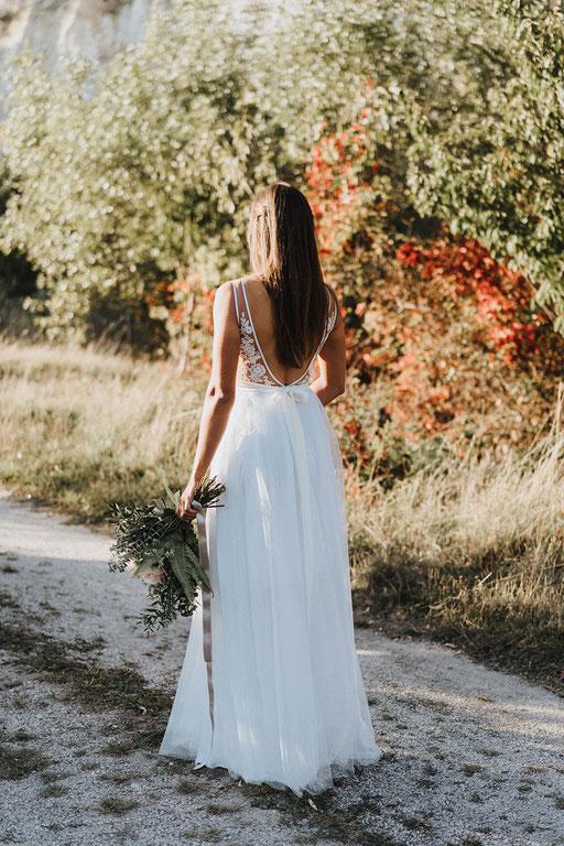 Brautkleid mit Spitze Tüll Boho Hochzeit