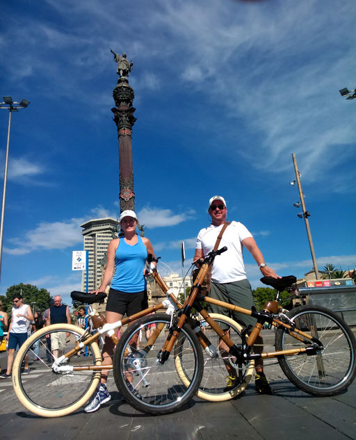 Bamboo Bike Tour at the Colom Statue, Barcelona