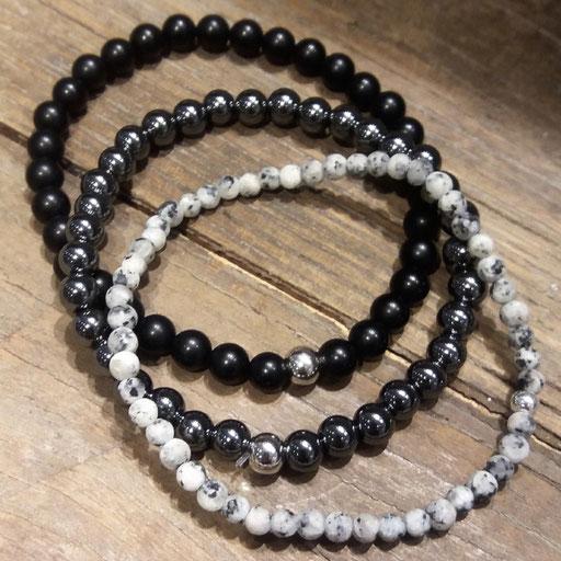 Armänder aus Onyx, Hämatit, Granit