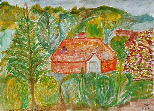 Chrisina Antoni Das Dach gegenüber Wasserfarben auf Papier 42cm * 56cm