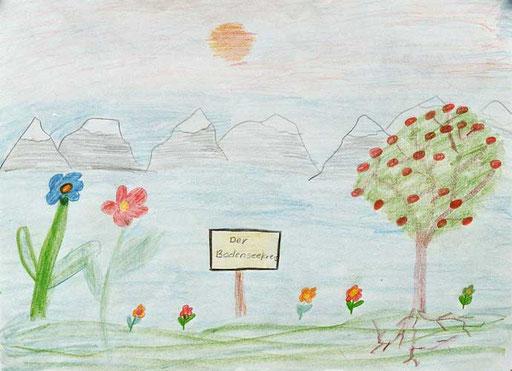 Philipp Haug Der Bodenseekreis Buntstift auf Papier 30cm * 40cm