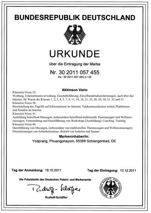 Urkunde Akkinson Vario® I.