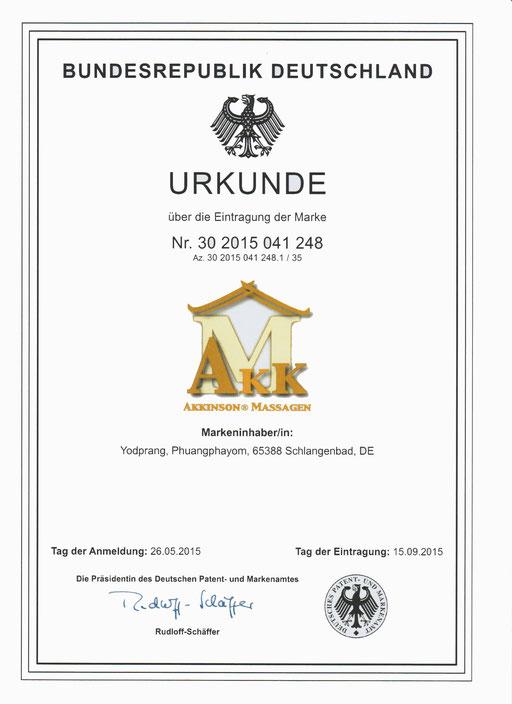 Urkunde Akkinson® AKK LOGO