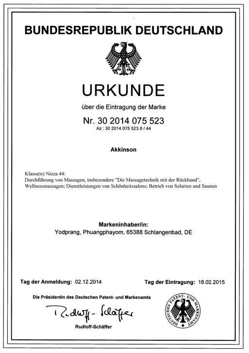 Urkunde Akkinson® III.