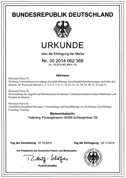 Urkunde Akkinson® II.