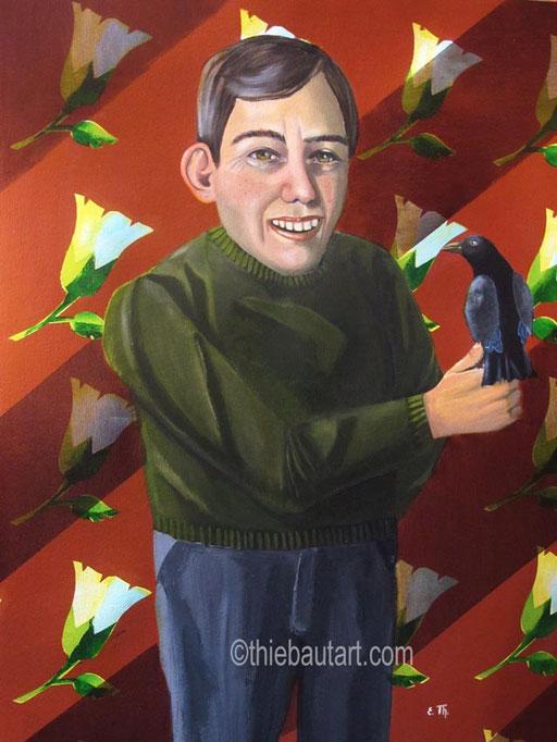 """""""L'Optimiste"""", acrylique et huile sur papier Fabriano 400 grammes, 50 x 70 cm"""