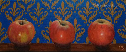"""«Trois Pommes», acrylique et huile sur toile, 20 x 50 cm, acrylics and oil on stretched canvas, 7.88""""x19.68"""""""