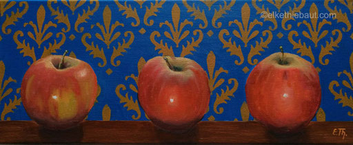 """«Trois Pommes», acrylique et huile sur toile, 20 x 50 cm, acrylics and oil on stretched canvas, 7.88""""x19.68"""", 2020"""