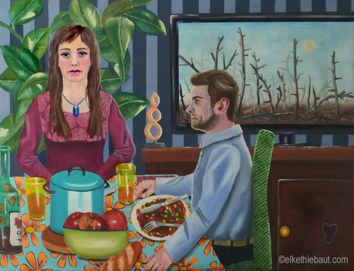 «Ne te retourne pas!» peinture acrylique et huile sur toile de lin fin, 65 x 80 cm, acrylics and oil on stretched linen, 2020