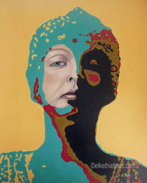 Title/Titre: «Circonspecte», acrylique et huile sur papier Fabriano 50 x 60 cm/ acrylics and oil on gessoed Fabriano paper, 50 x 60 cm, 2020