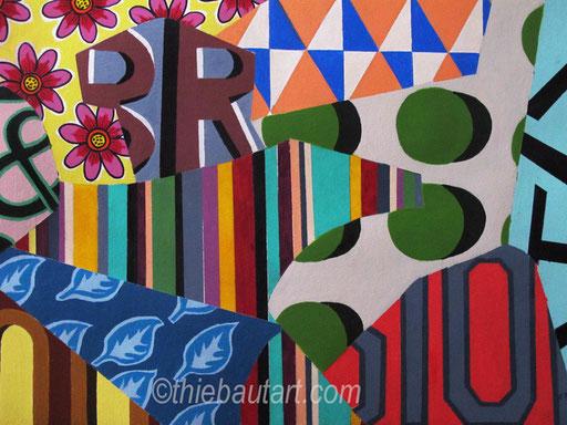 Abstrait N° 379, Acrylique sur papier Fabriano 400 gr. marouflé sur panneau HDF, 50 x 70 cm, 2015