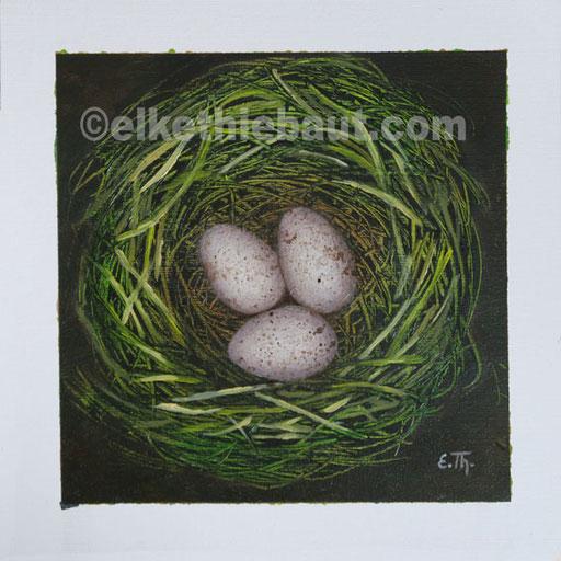 Acrylique et huile sur papier Fabriano, 25 x 25 cm -  V E N D U/SOLD -