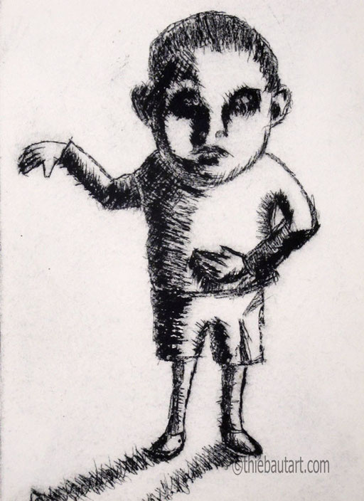 """Technique: """"pointe sèche"""". 11x15 cm sur 15x20 cm; sur papier JP Swan 300 grammes (dry point)"""