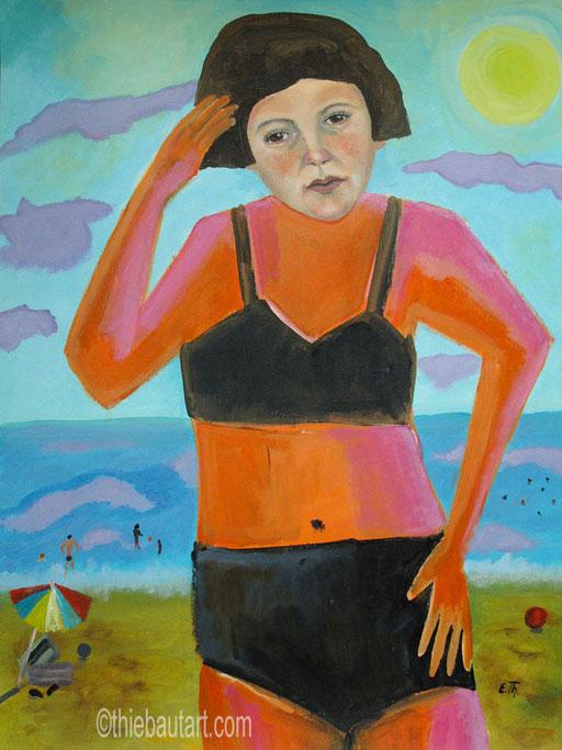 """""""On the Beach/Sur la Plage""""Acrylique sur papier Fabriano 400 grammes recouvert de gesso, protégé par vernis. 50 x 70 cm"""