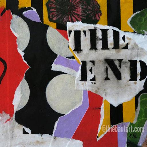 """Abstrait N° 395 (""""The End"""")  Collages de papiers entièrement peints à l'acrylique sur panneau HDF, 30 x 30 cm"""