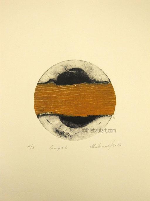 Collagraphie (collagraph) sur papier Rosaspina 285 grammes, diamètre de l'impression: 12 cm sur papier 25 x 35 cm; daté et signé. Edition de 6 exemplaires.