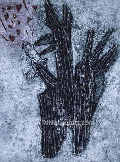 Collagraphie sur papier JS Swan 300 grammes, dimensions de l'image: dimensions: 24 x 17,5 environ, édition de 3 images