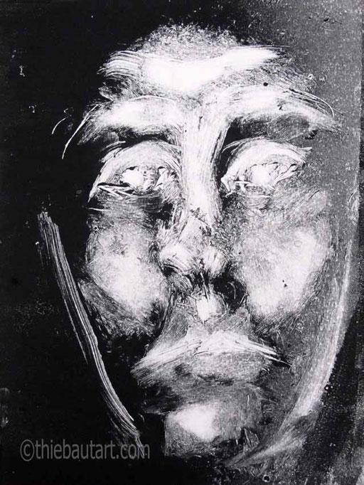 Monotype à l'encre Charbonnel Aquawash sur papier Clairefontaine 250 grammes/115 lb. daté et signé