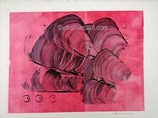 Sans titre: Monotype sur papier Fabriano Rosaspina, 32x 40 sur papier 35 x 50 cm