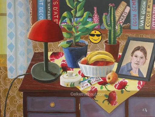 «Pour Maman»,  peinture acrylique et huile sur toile de lin fin,  60 x 80 cm,/acrylics and oil,  2020