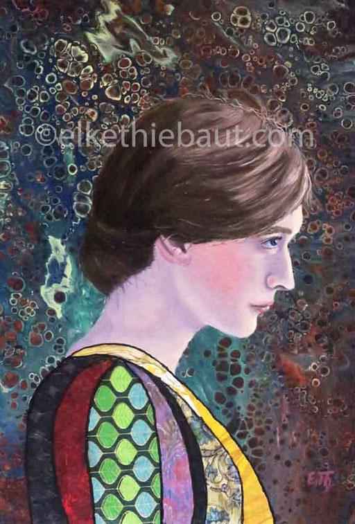 """""""Alice"""", Acrylique, huile et collages sur panneau MDF, 40x30x1 cm"""
