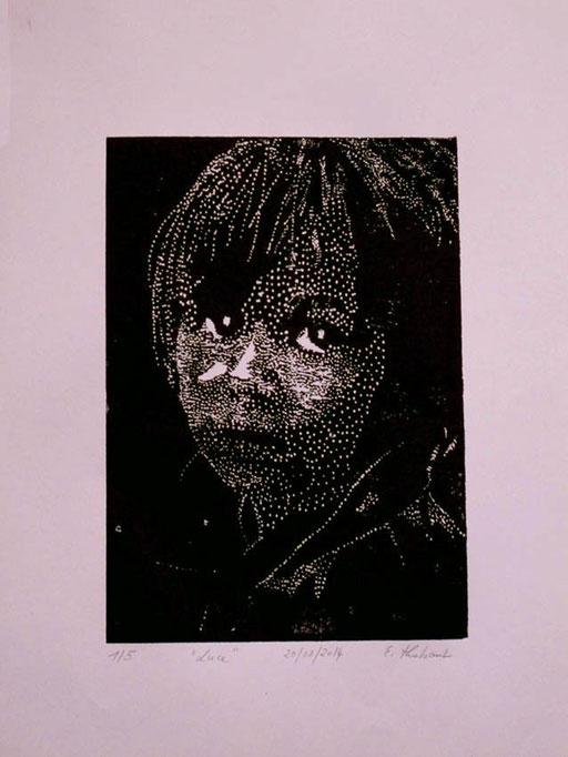 Gravure sur bois sur papier Canson 180 grammes, environ 20 x 30 cm sur papier 24 x 32 cm. En 4 exemplaires sur papier couleur blanche.
