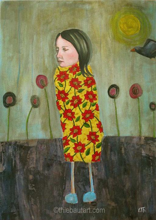 """""""Elle est venue comme une Vapeur"""", Acrylique, brou de noix et huile sur papier Fabriano 400 grammes, 50 x 70 cm"""