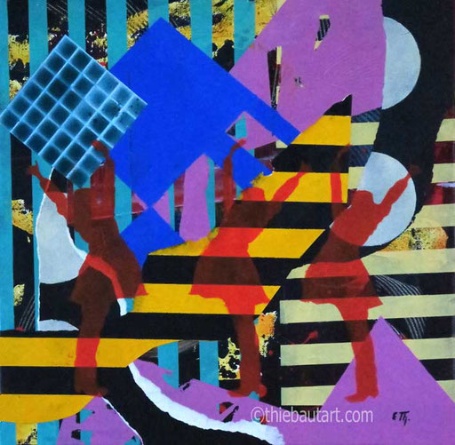 Abstrait N° 398 Peintures acryliques et collages de papiers entièrement peints à l'acrylique sur toile, 40 x 40 cm