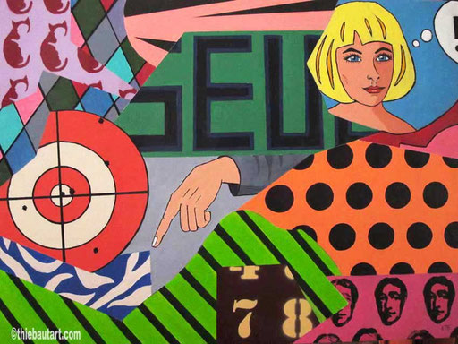 """Abstrait N° 381, """"Seul"""", acrylique sur panneau HDF, 60 x 80 cm, 2015"""