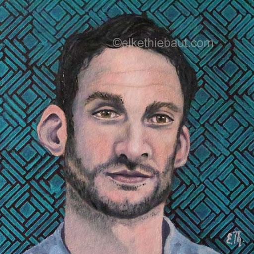 Portrait d'un Homme, étude, acrylique et huile sur papier Fabriano, 20 x 20 cm