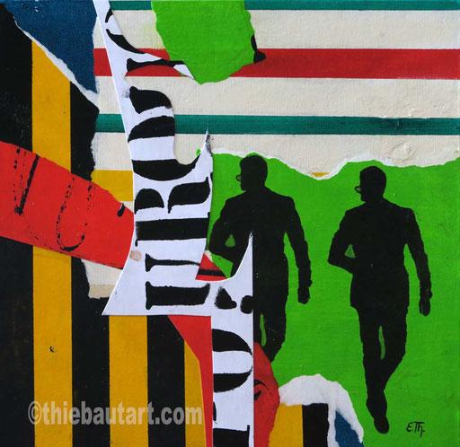"""Abstrait N° 397 (""""Pourquoi?"""") Collages de papiers entièrement peints à l'acrylique sur panneau HDF, 30 x 30 cm"""