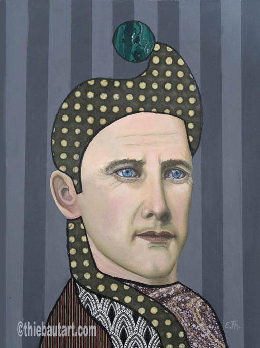 """""""Il est un des meilleurs Orateurs"""", acrylique, huile et collages sur papier Clairefontaine 360 gr. recouvert de Gesso, 30 x 40 cm"""