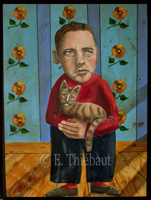 Le Chat et L'homme, Acrylique sur contreplaqué, vernis. 40 x 55 cm - V E N D U -