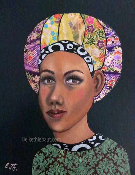 """""""Marie"""", acrylique, huile et collages sur panneau MDF, 24 x 30,5 cm"""