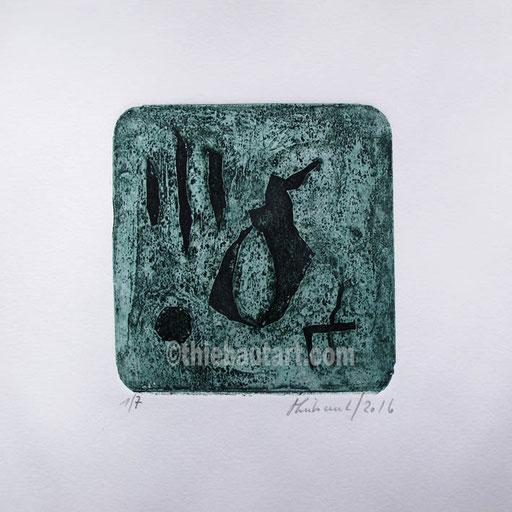 Collagraphie sur papier JS Swan 300 grammes, taille de l'image: 12 x 12 sur papier 24 x 24 cm.