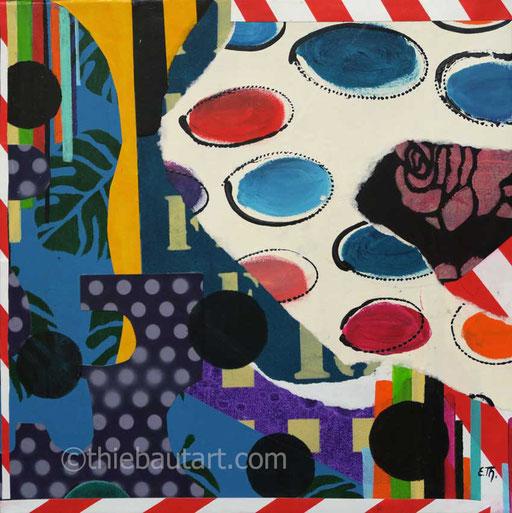 Abstrait N° 399 Peintures acryliques et collages de papiers entièrement peints à l'acrylique sur sur toile , 40 x 40 cm